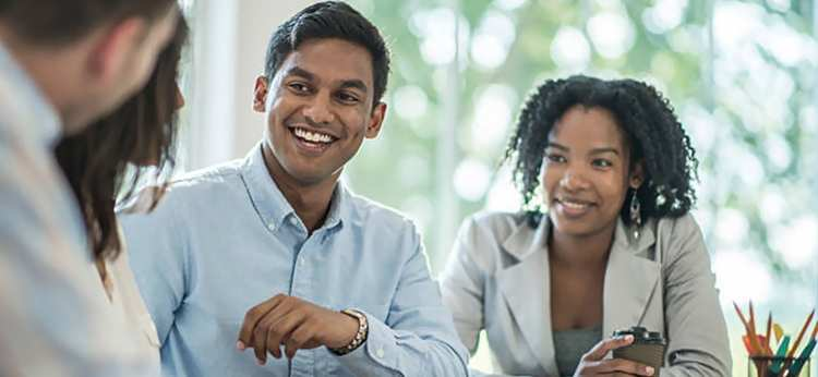 Young credit advisers giving debt advice